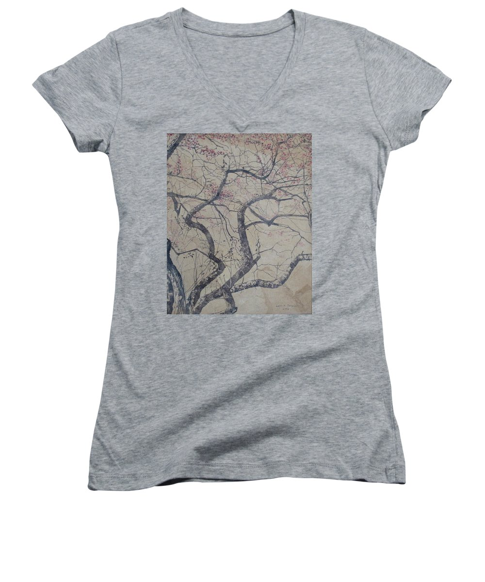 Crab Apple Women's V-Neck T-Shirt (Junior Cut) featuring the painting Prairie Fire by Leah Tomaino