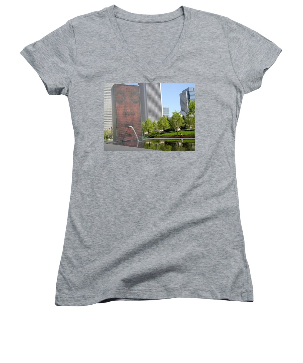 Chicago Women's V-Neck T-Shirt featuring the photograph Chicago Crown Fountain 8 by Jean Macaluso