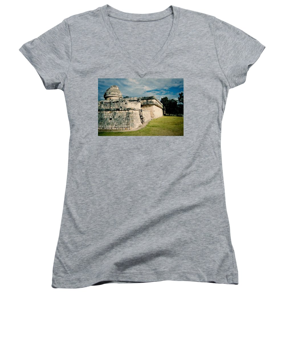 Chitchen Itza Women's V-Neck (Athletic Fit) featuring the photograph Chichen Itza 1 by Anita Burgermeister
