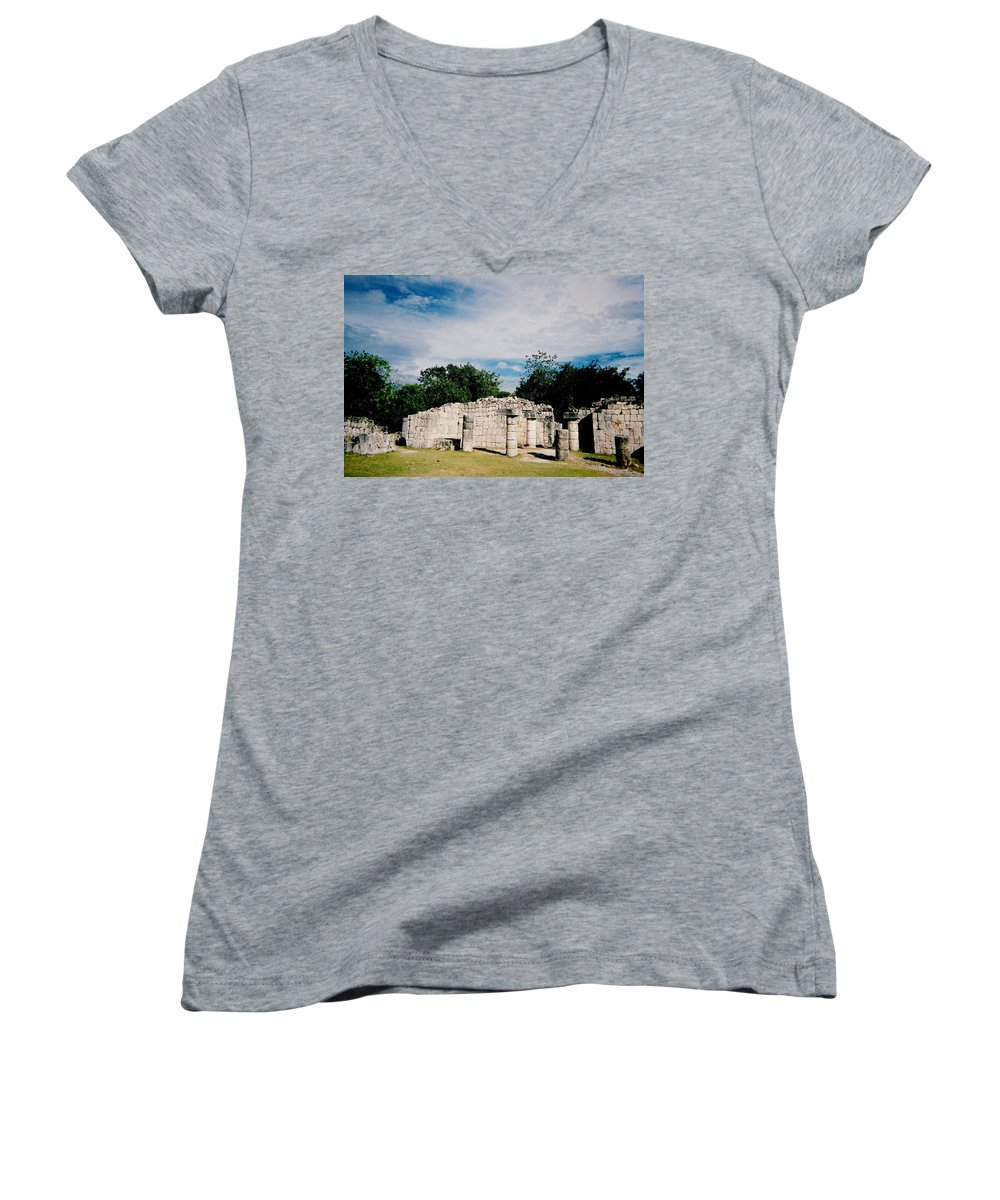 Chitchen Itza Women's V-Neck (Athletic Fit) featuring the photograph Chichen Itza 2 by Anita Burgermeister