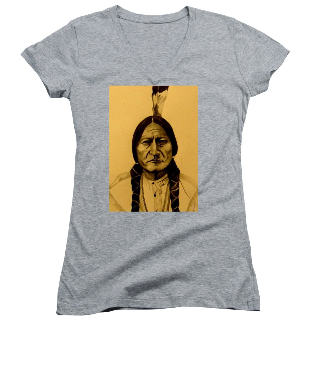 Portrait Women's V-Neck (Athletic Fit) featuring the drawing Chief Sitting Bull Tatanka Iyotake by Michelle Dallocchio
