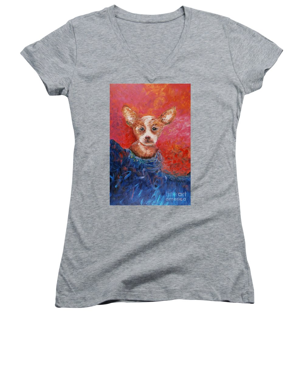 Dog Women's V-Neck (Athletic Fit) featuring the painting Chihuahua Blues by Nadine Rippelmeyer