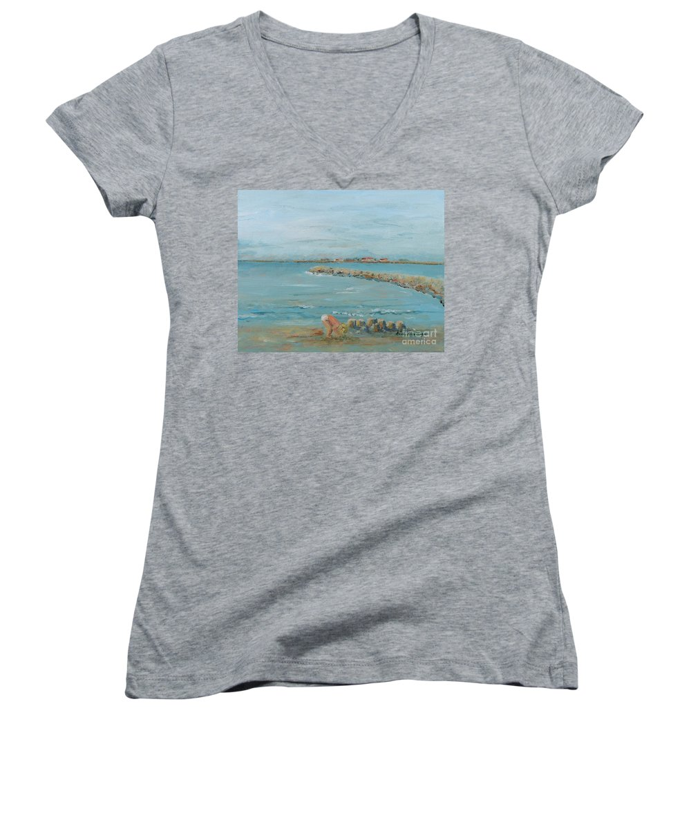 Beach Women's V-Neck (Athletic Fit) featuring the painting Child Playing At Provence Beach by Nadine Rippelmeyer
