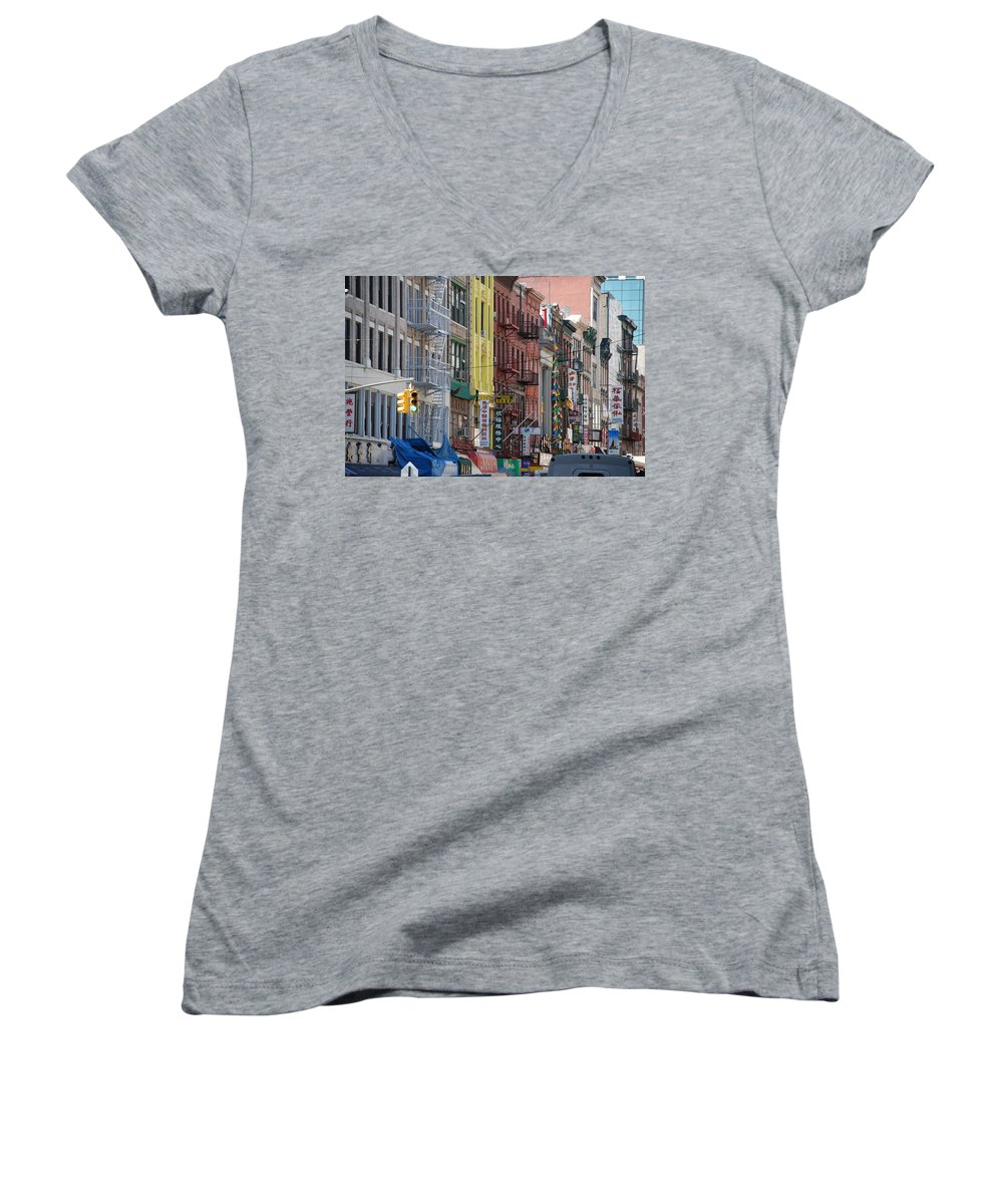 Architecture Women's V-Neck T-Shirt featuring the photograph Chinatown Walk Ups by Rob Hans