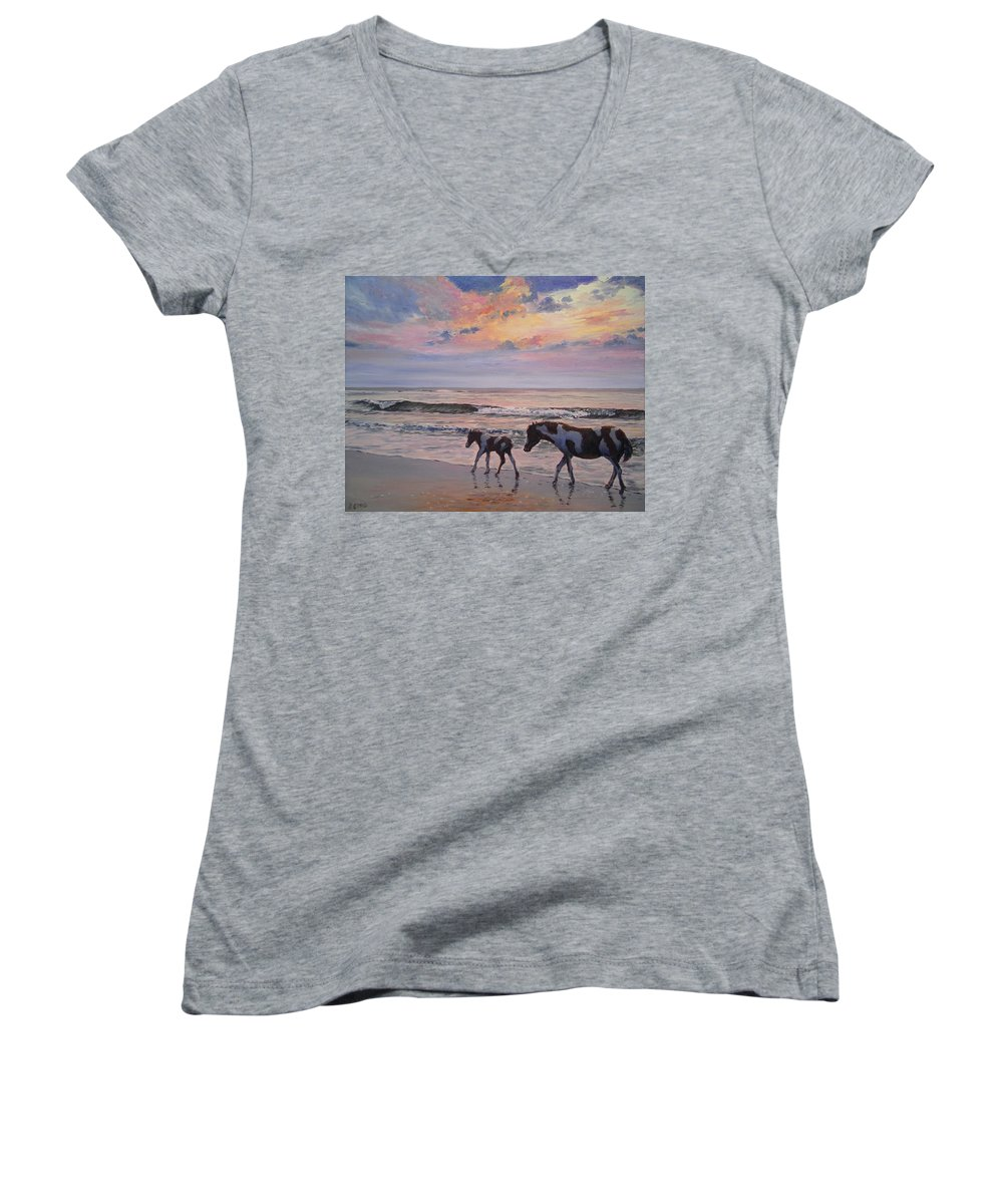 Horses Women's V-Neck featuring the painting Chincoteague Horses by Paul Emig