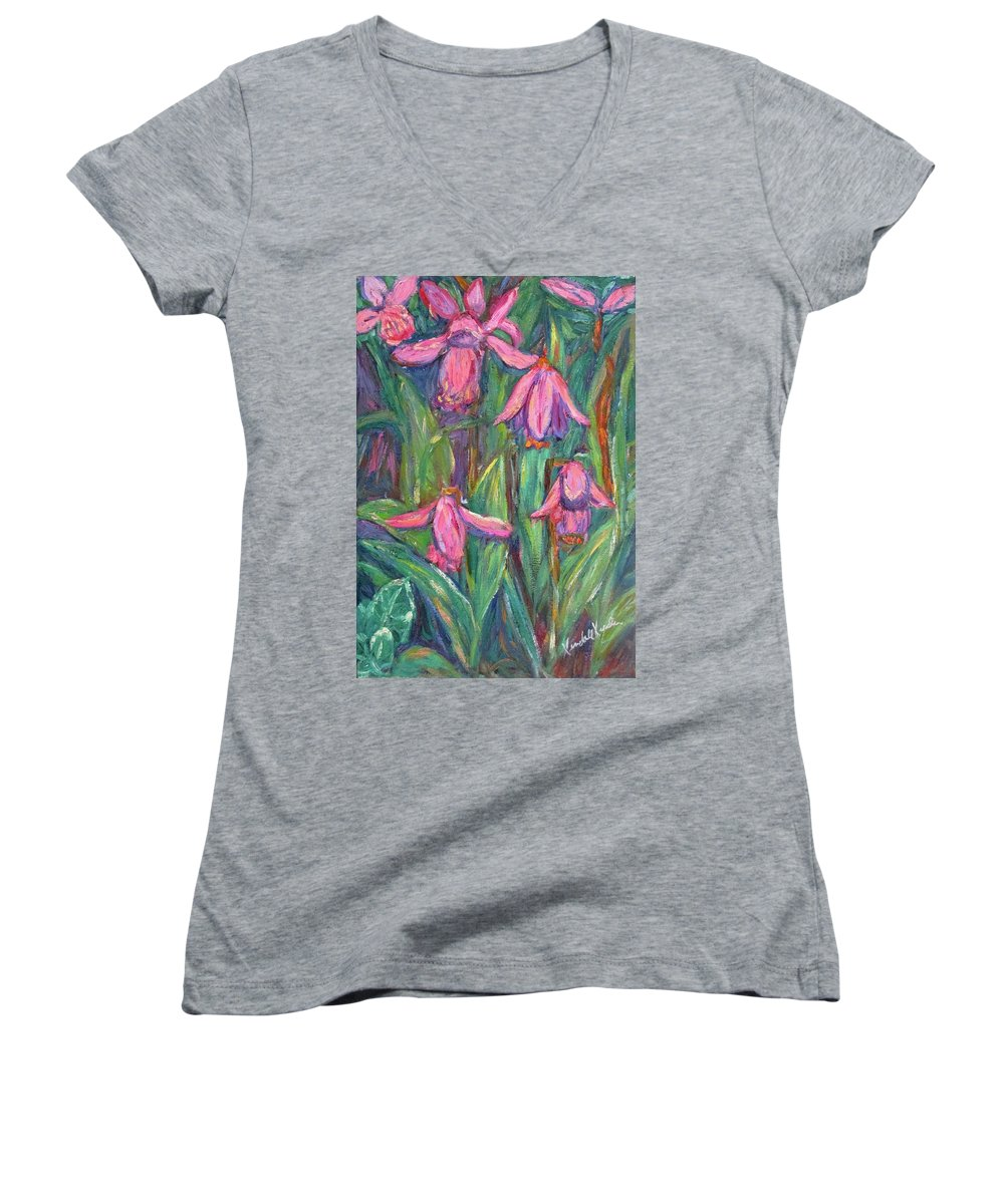 Floral Women's V-Neck T-Shirt featuring the painting Chinese Orchids by Kendall Kessler