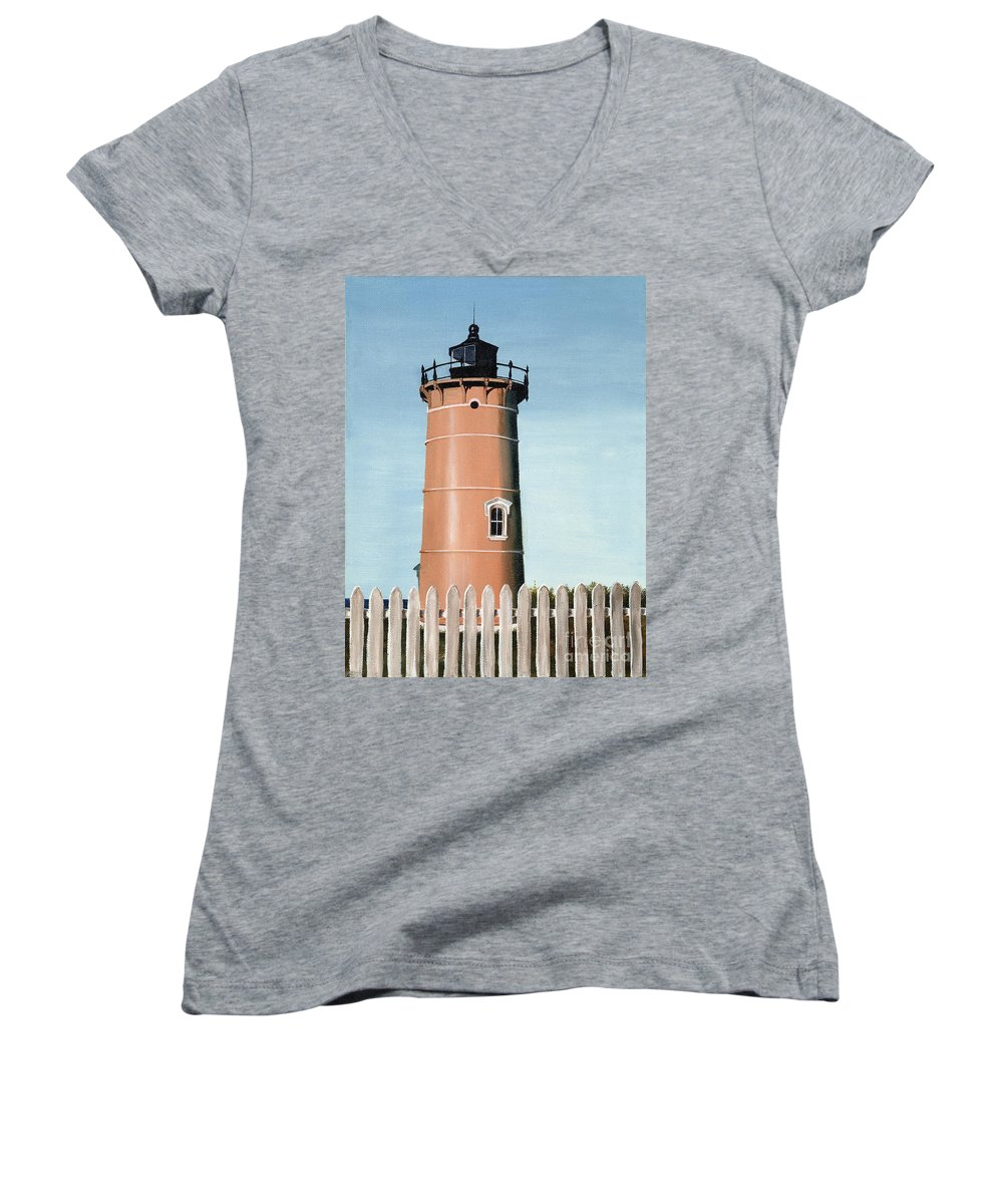 Lighthouse Women's V-Neck T-Shirt featuring the painting Chocolate Lighthouse by Mary Rogers