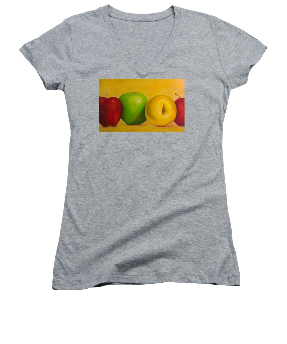 Still Life Women's V-Neck T-Shirt featuring the painting Chorus Line by Shannon Grissom