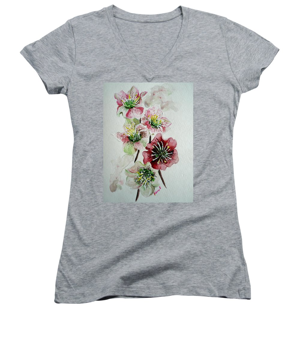 Floral Flower Pink Women's V-Neck T-Shirt featuring the painting Christmas Rose by Karin Dawn Kelshall- Best