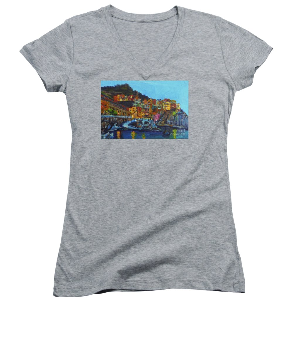 Cinque Terre Women's V-Neck (Athletic Fit) featuring the painting Cinque Terre by Laura Toth