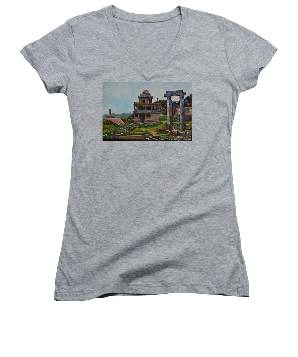 Landscape Women's V-Neck (Athletic Fit) featuring the painting Cithradurga Fort by Usha Rai
