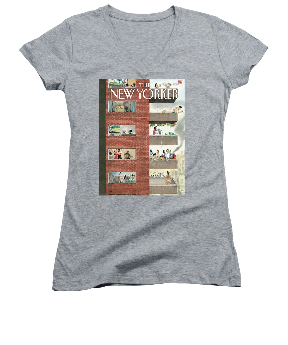 City Living Women's V-Neck featuring the painting City Living by Harry Bliss
