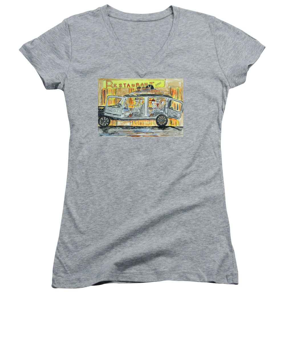 Skeletons Women's V-Neck (Athletic Fit) featuring the painting Classic Country Music Never Dies by Larry Wright