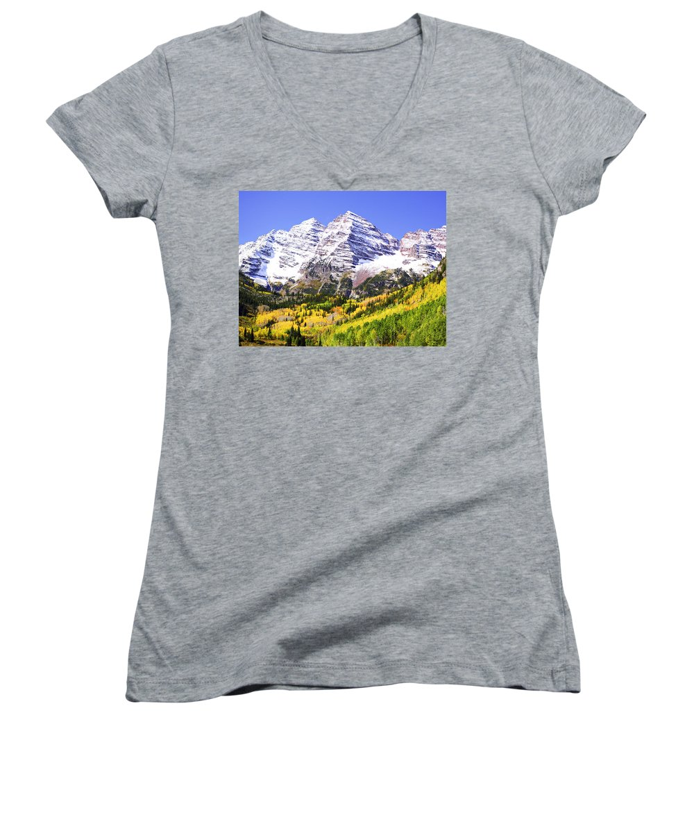 Americana Women's V-Neck (Athletic Fit) featuring the photograph Classic Maroon Bells by Marilyn Hunt