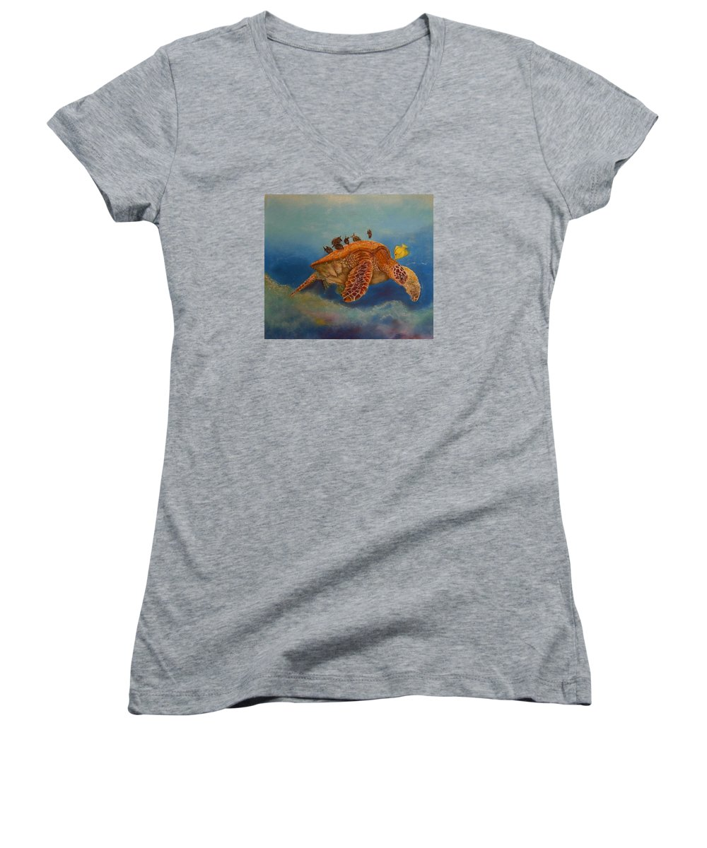Turtle Women's V-Neck T-Shirt featuring the painting Cleaning Station by Ceci Watson