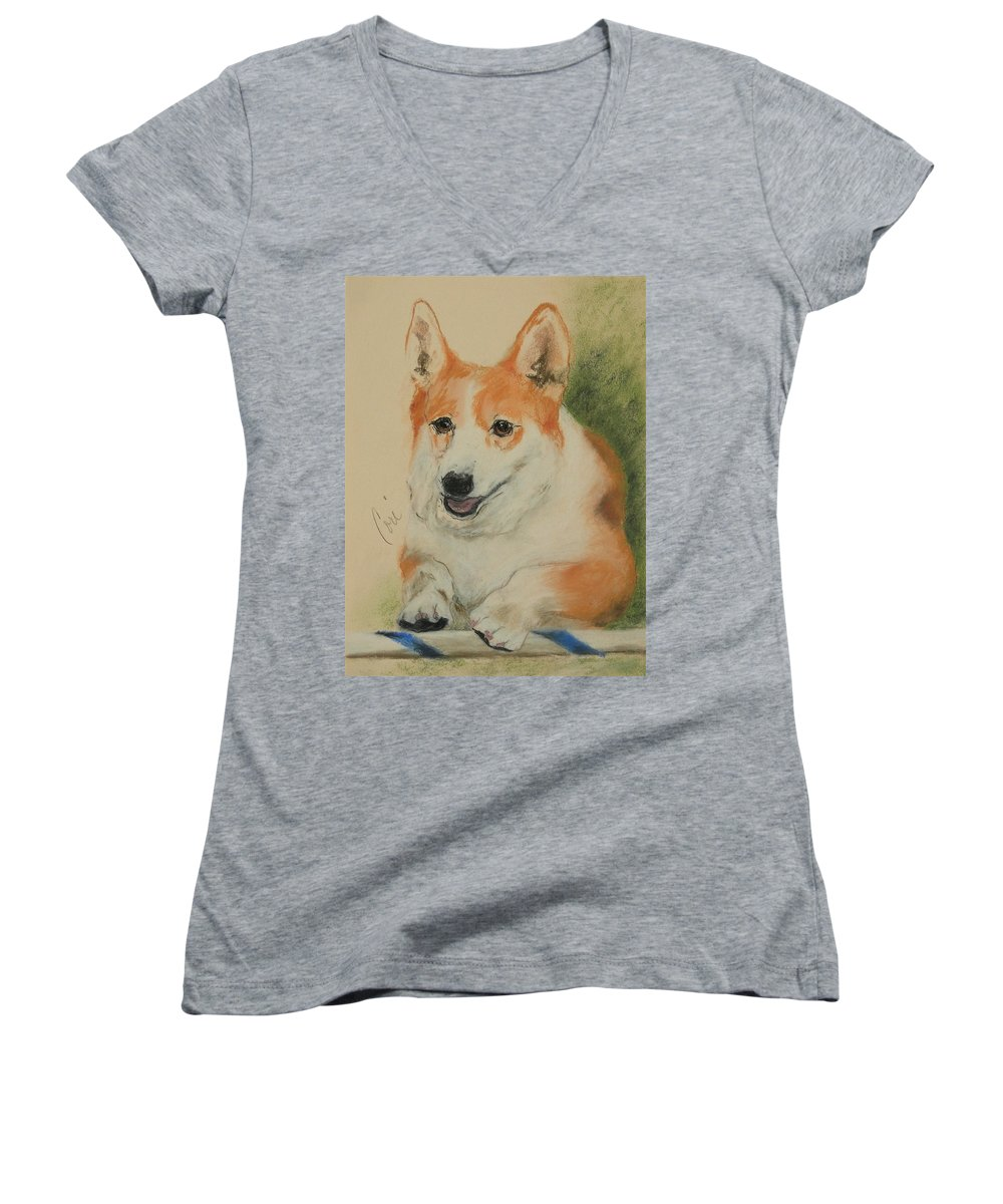 Pastel Women's V-Neck T-Shirt featuring the drawing Clear Run by Cori Solomon