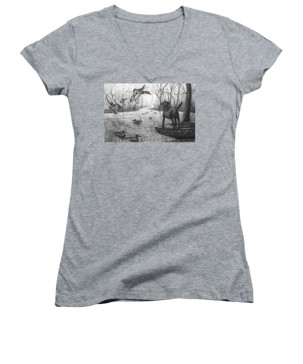 Cloaked Women's V-Neck T-Shirt featuring the drawing Cloaked by Peter Piatt