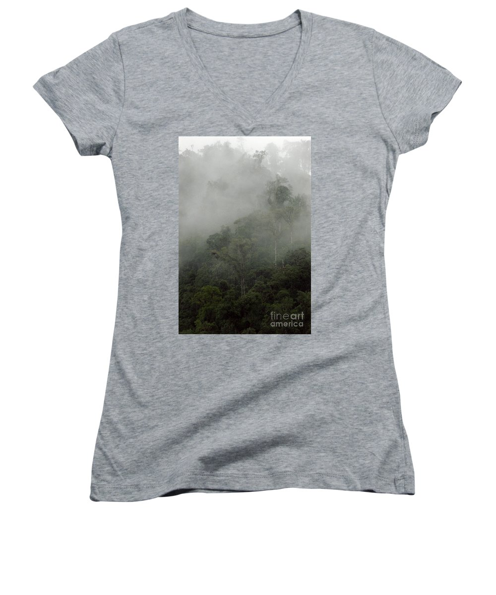 Rainforest Women's V-Neck (Athletic Fit) featuring the photograph Cloud Forest by Kathy McClure
