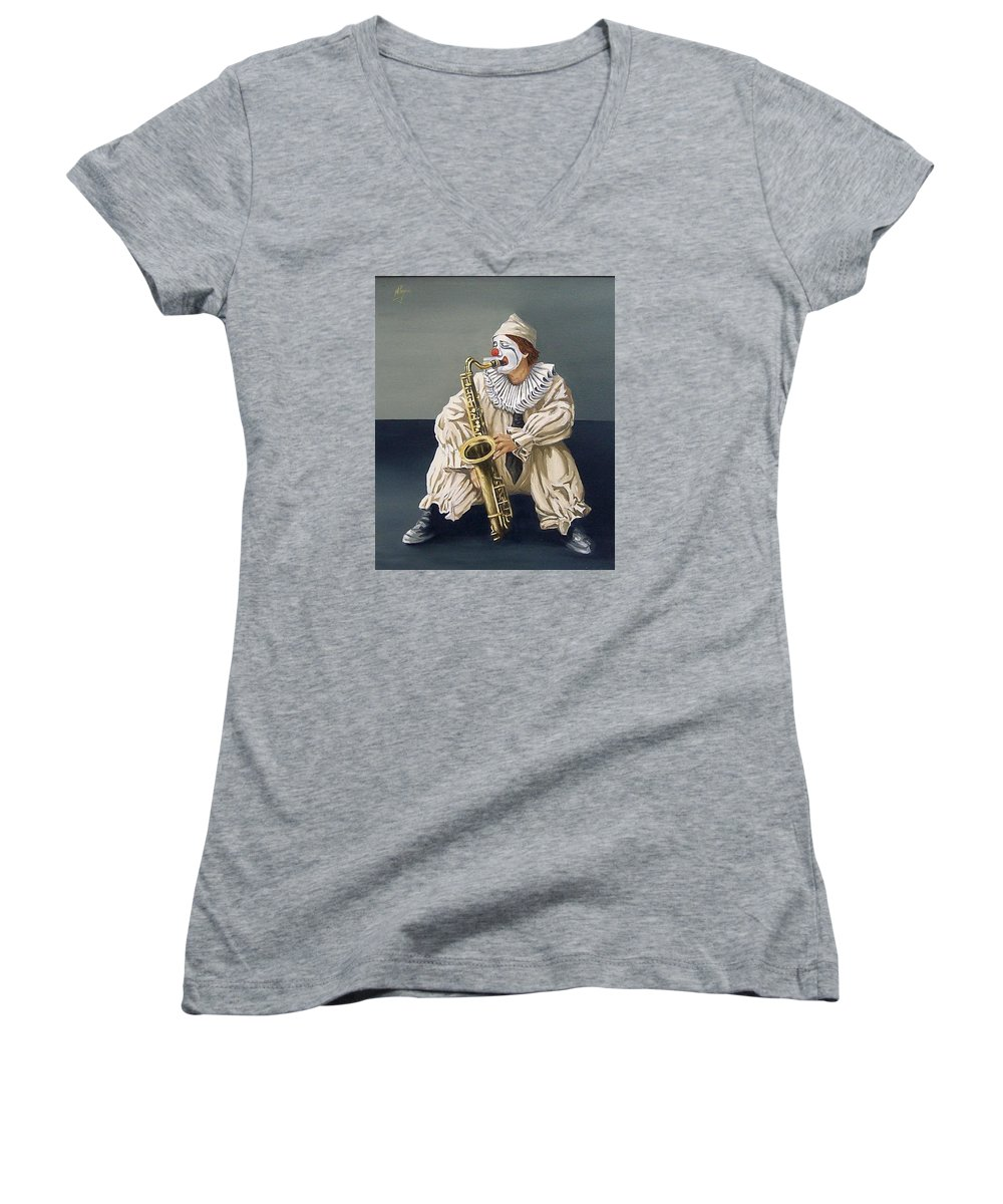 Clown Figurative Portrait People Women's V-Neck T-Shirt featuring the painting Clown by Natalia Tejera