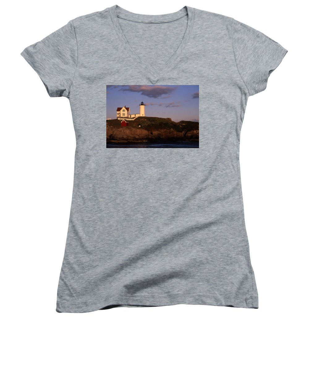 Landscape New England Lighthouse Nautical Coast Women's V-Neck T-Shirt featuring the photograph Cnrf0908 by Henry Butz