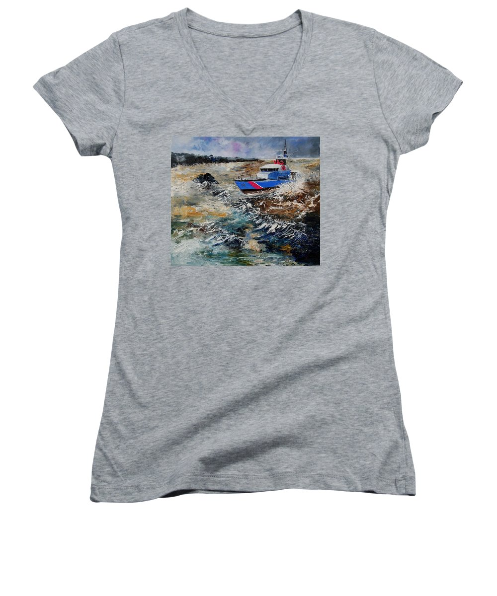 Sea Women's V-Neck (Athletic Fit) featuring the painting Coastguards by Pol Ledent