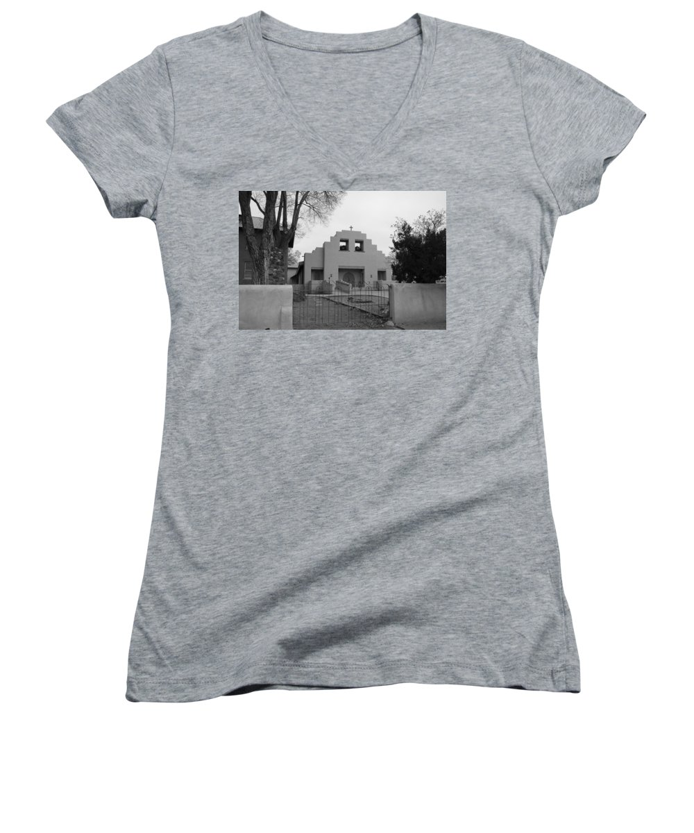 Architecture Women's V-Neck T-Shirt featuring the photograph Cochiti Church by Rob Hans