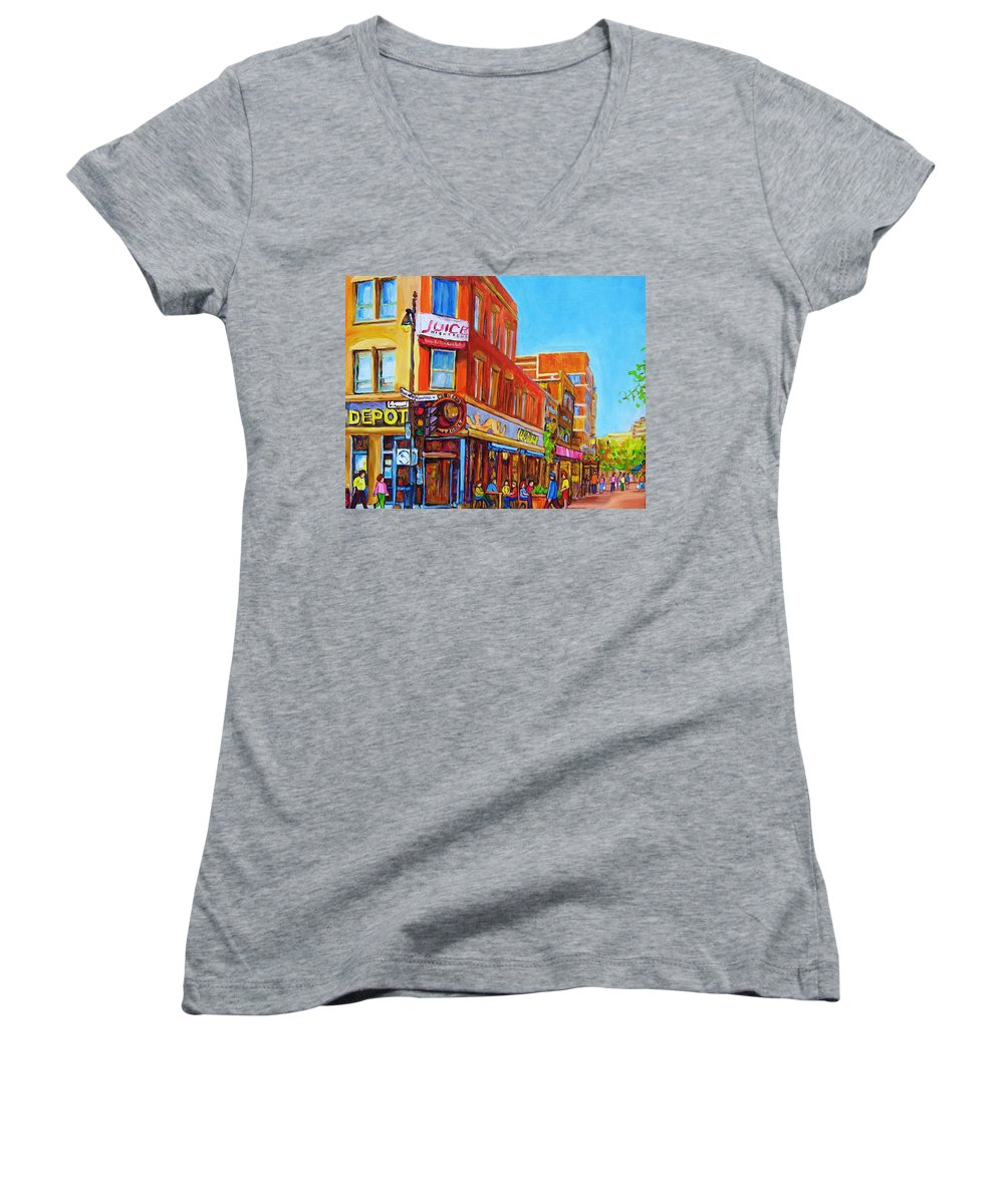 Cityscape Women's V-Neck T-Shirt featuring the painting Coffee Depot Cafe And Terrace by Carole Spandau