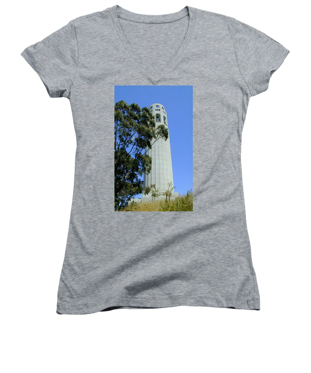Coit Women's V-Neck (Athletic Fit) featuring the photograph Coit Tower by Douglas Barnett