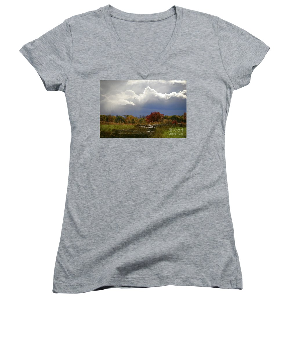 Landscape Women's V-Neck T-Shirt featuring the photograph Cold Front by Robert Pearson