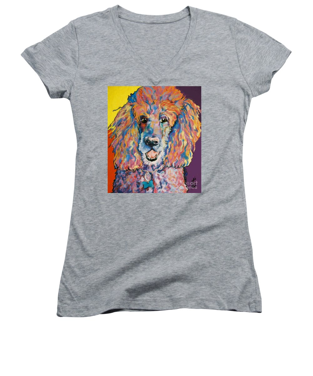 Standard Poodle Women's V-Neck T-Shirt featuring the painting Cole by Pat Saunders-White
