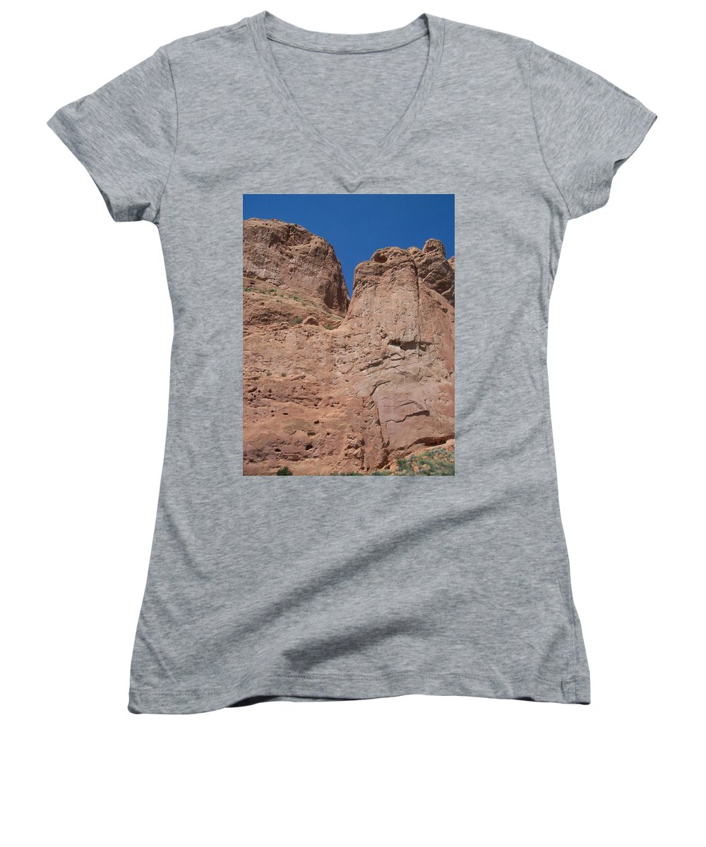 Colorado Women's V-Neck T-Shirt featuring the photograph Colorado Redrock by Anita Burgermeister