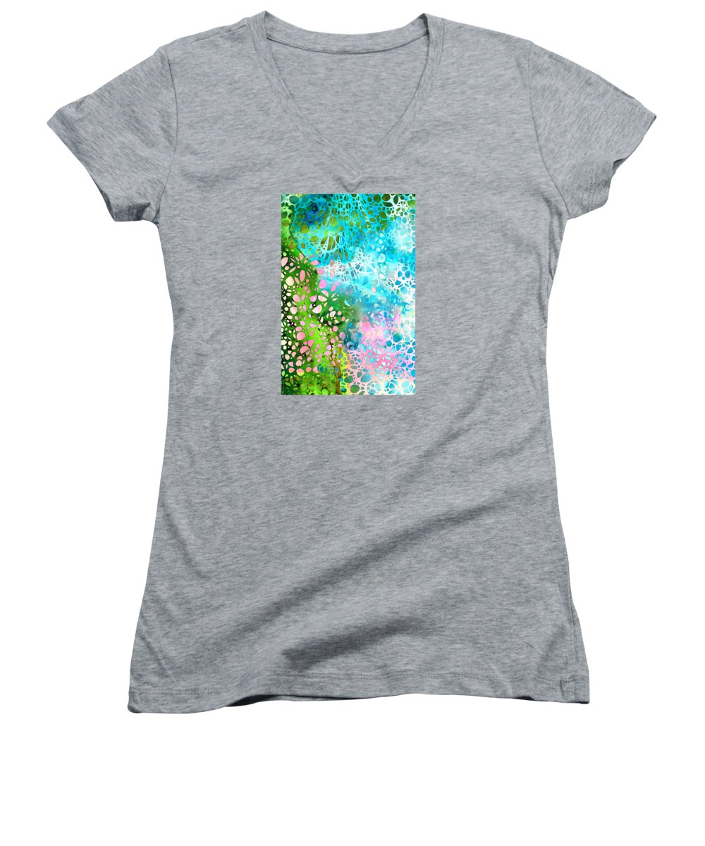Abstract Landscape Paintings Women's V-Neck T-Shirts