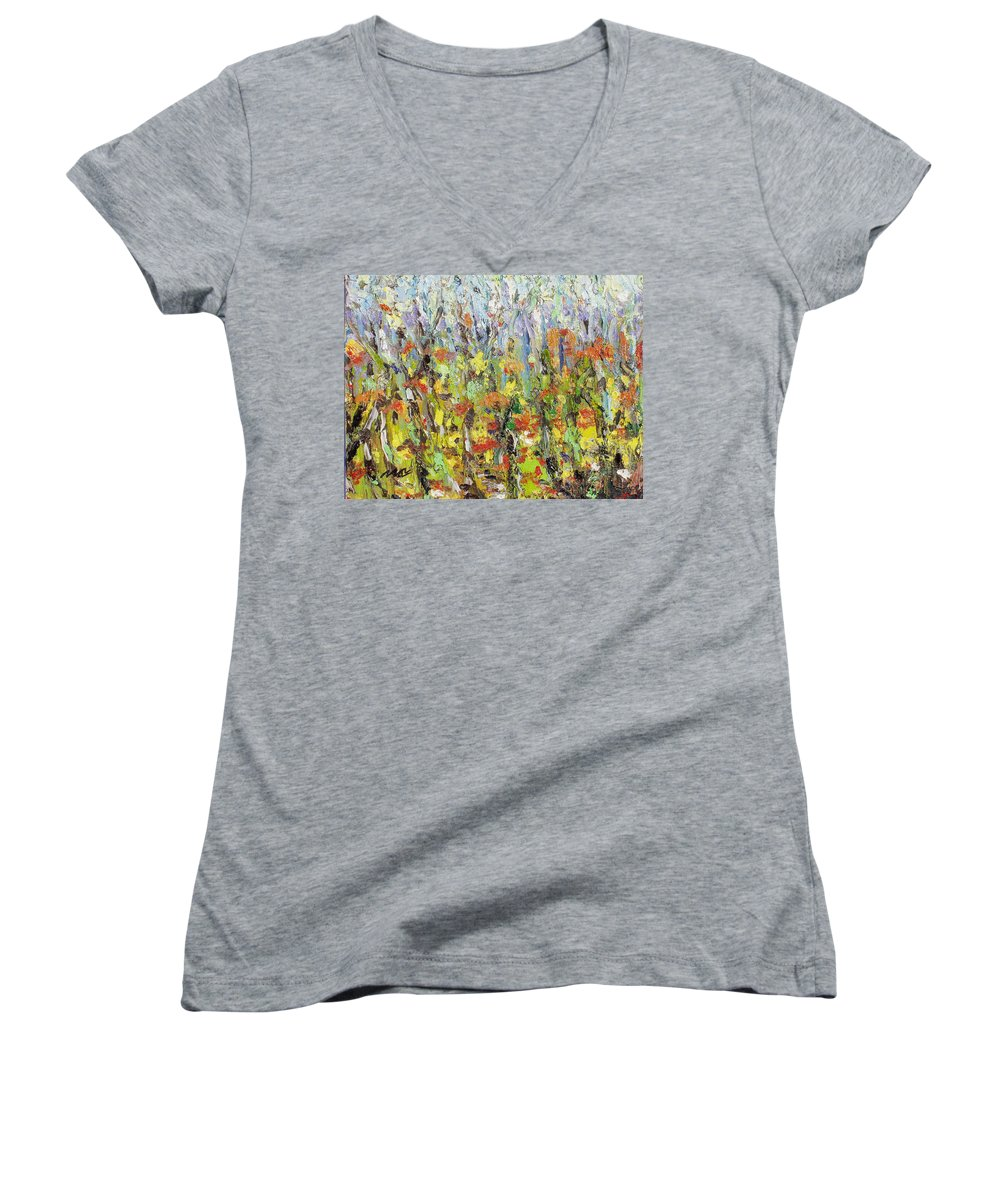 Autumn Abstract Paintings Women's V-Neck T-Shirt featuring the painting Colorful Forest by Seon-Jeong Kim