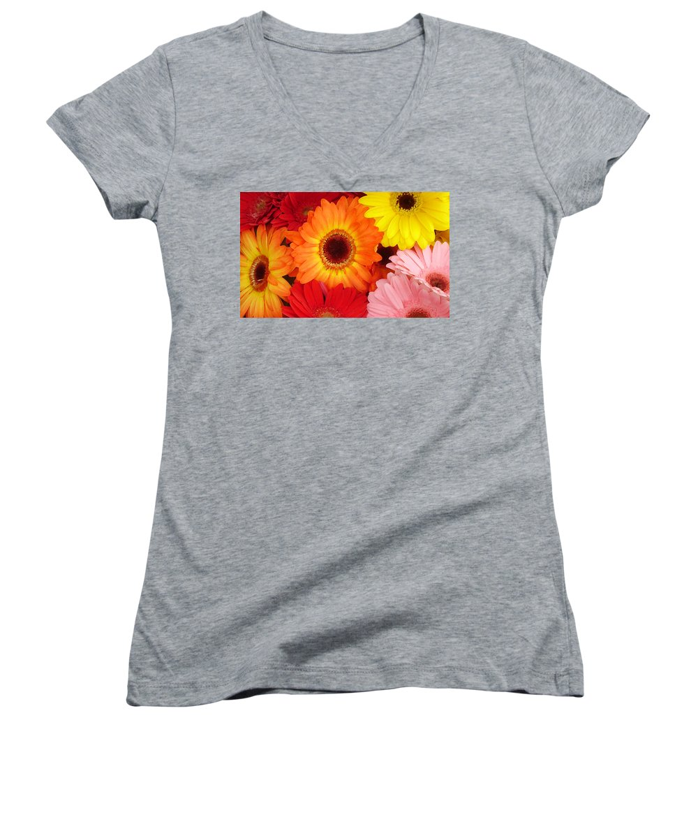 Gerber Daisy Women's V-Neck T-Shirt featuring the painting Colorful Gerber Daisies by Amy Vangsgard