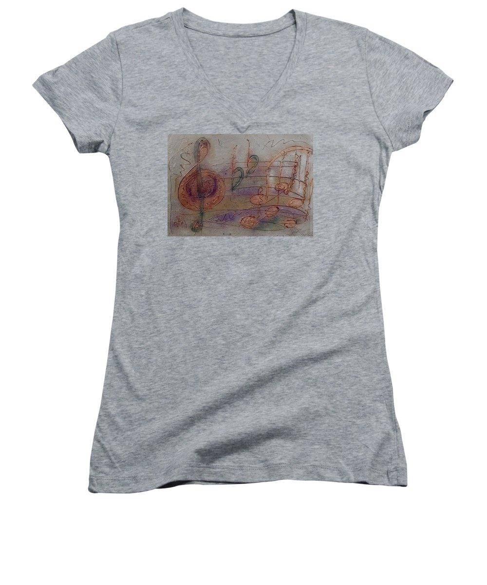 Impressionist Women's V-Neck T-Shirt featuring the painting Composition In B Flat by Anita Burgermeister