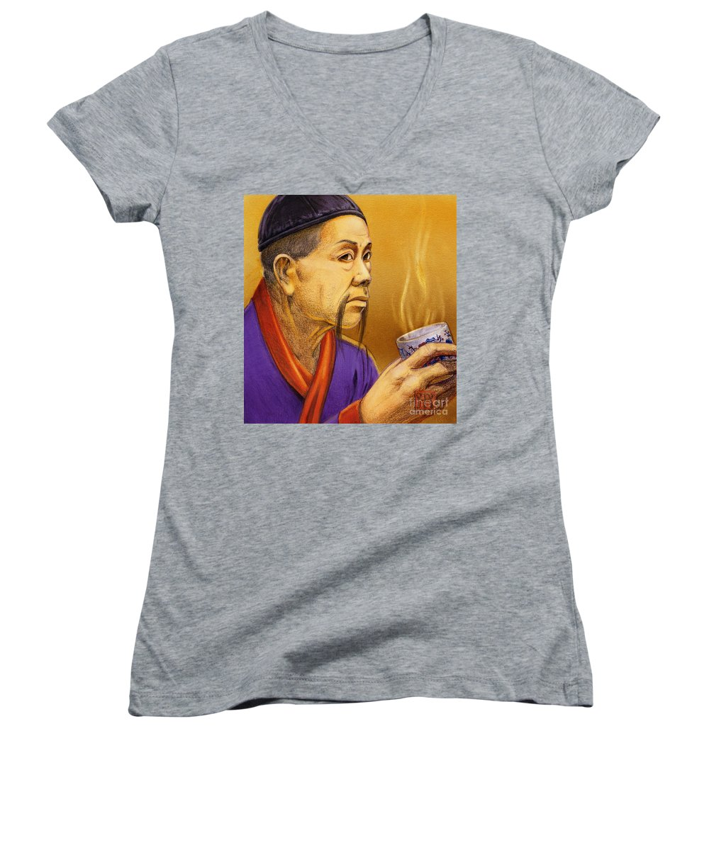 Oriental Women's V-Neck (Athletic Fit) featuring the painting Confucian Sage by Melissa A Benson