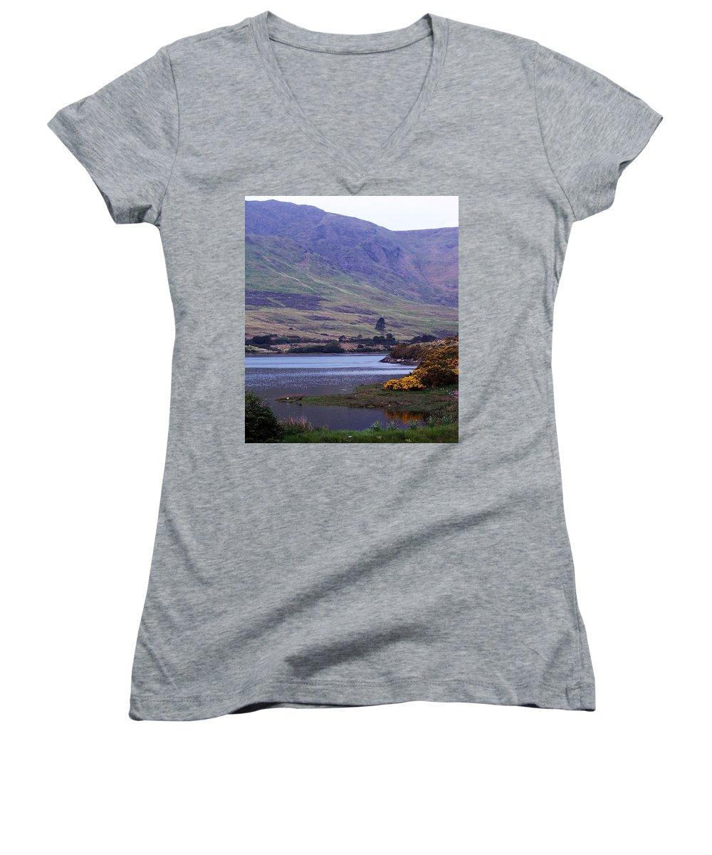 Landscape Women's V-Neck (Athletic Fit) featuring the photograph Connemara Leenane Ireland by Teresa Mucha