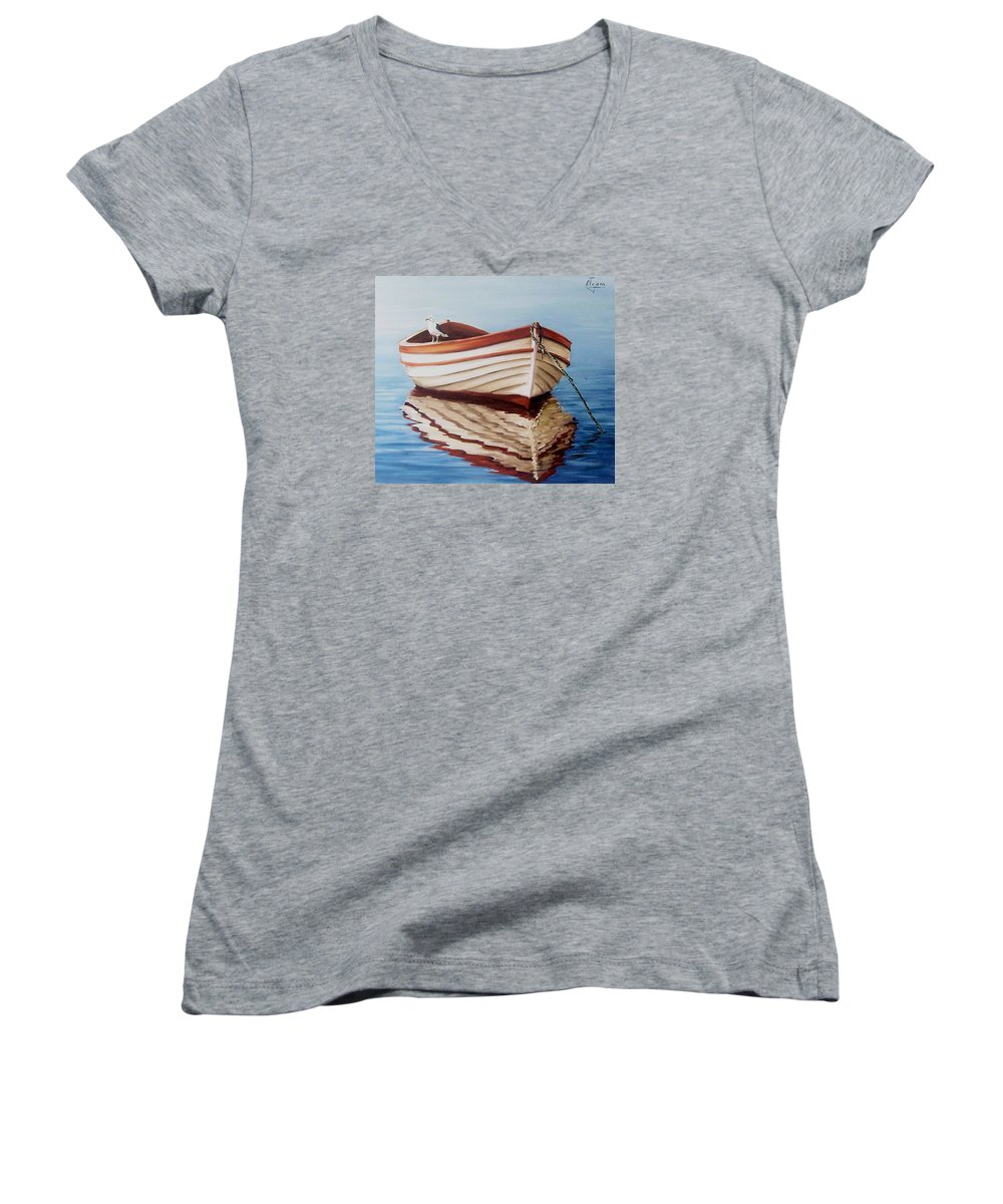 Sea Seascape Boat Reflections Water Ocean Seagull Bird Women's V-Neck (Athletic Fit) featuring the painting Contemplative by Natalia Tejera