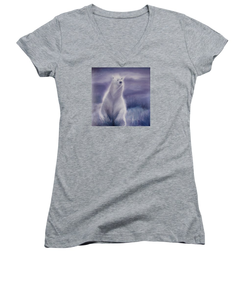 Bear Women's V-Neck (Athletic Fit) featuring the painting Cool Bear by Allison Ashton