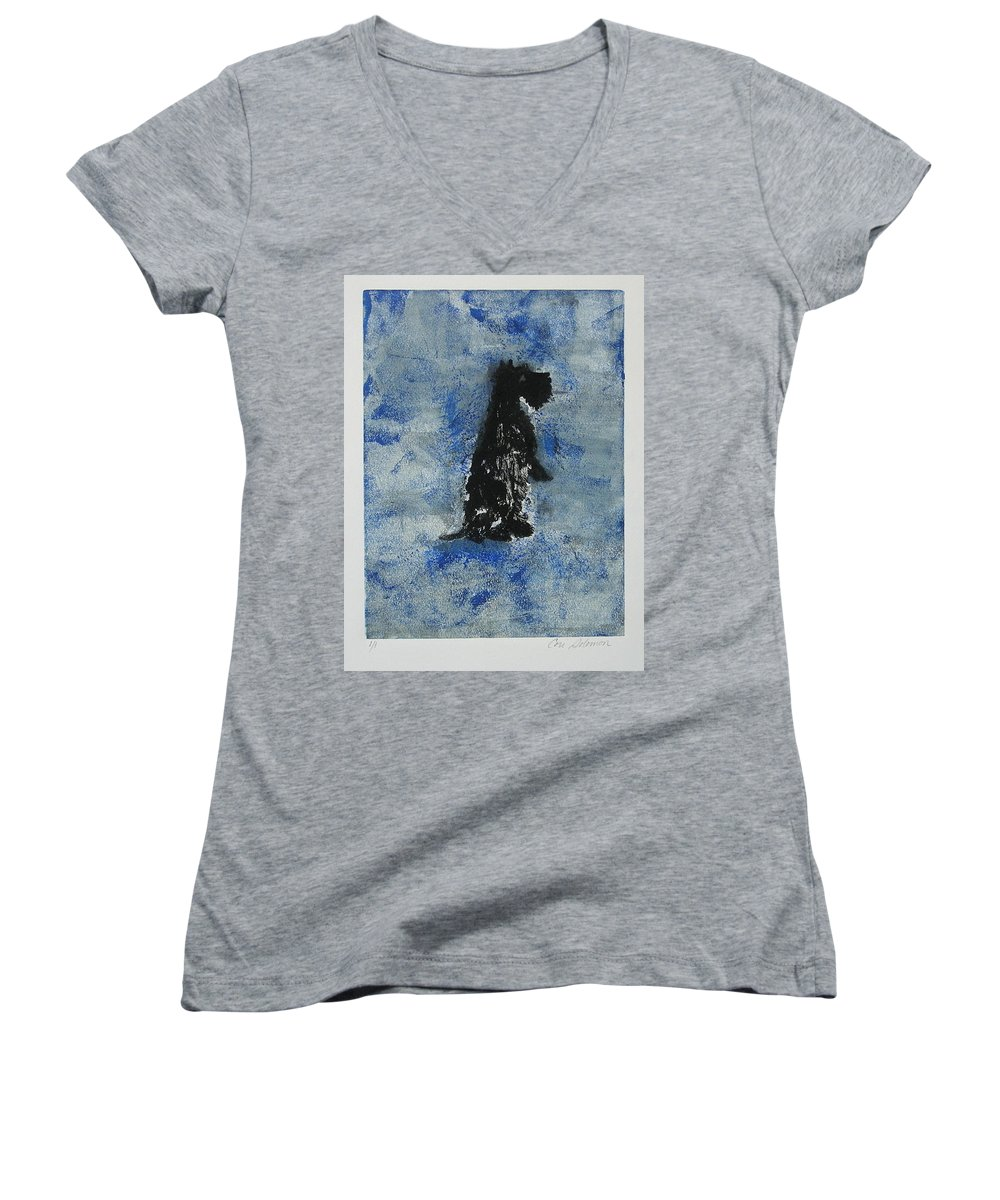 Monotype Women's V-Neck T-Shirt featuring the mixed media Cool Blue by Cori Solomon