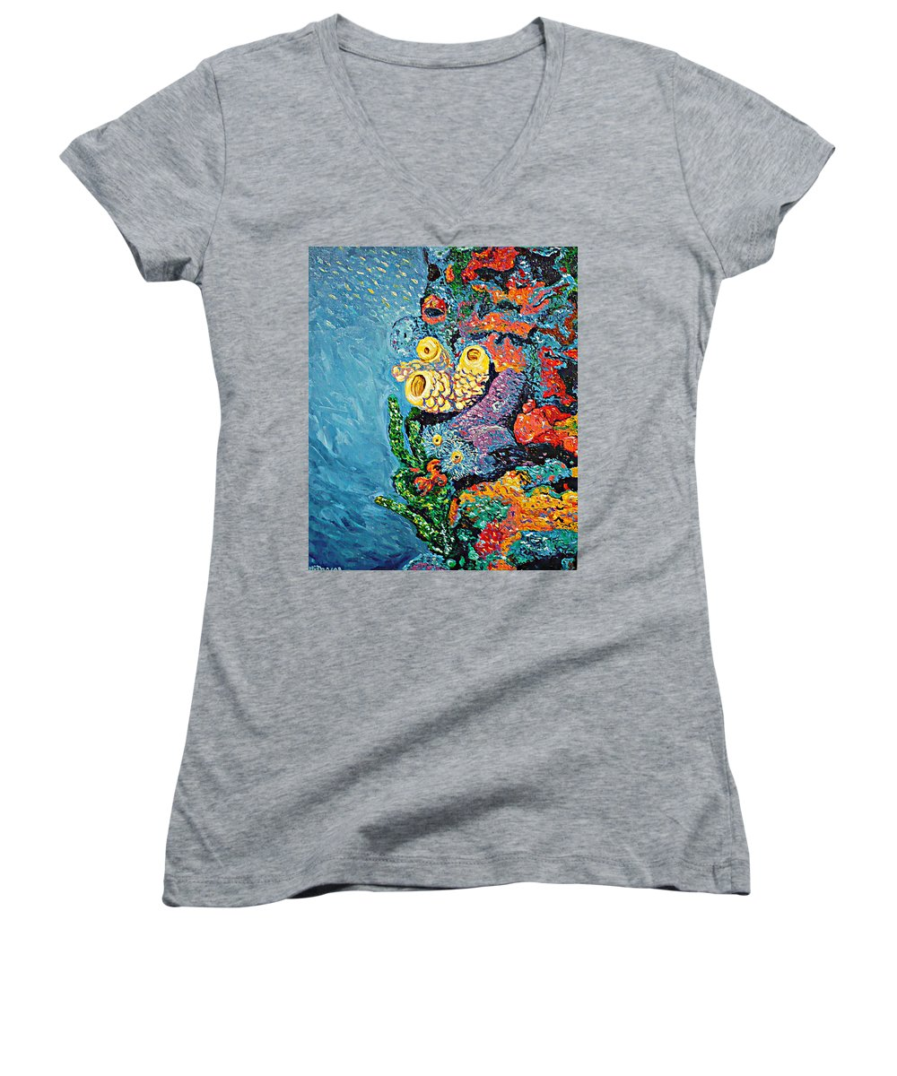 Coral Women's V-Neck (Athletic Fit) featuring the painting Coral With Cucumber by Ericka Herazo