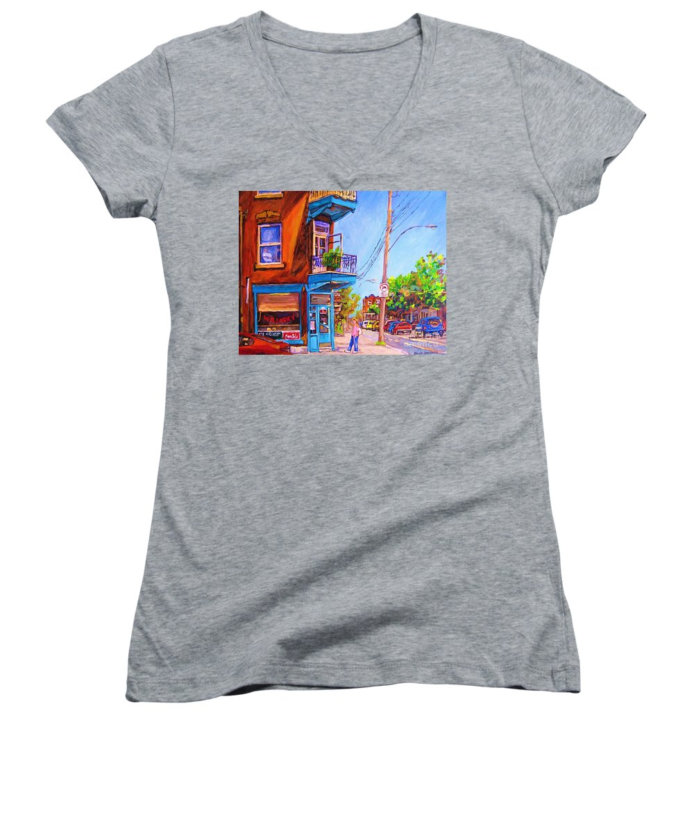 Wilenskys Corner Fairmount And Clark Women's V-Neck (Athletic Fit) featuring the painting Corner Deli Lunch Counter by Carole Spandau