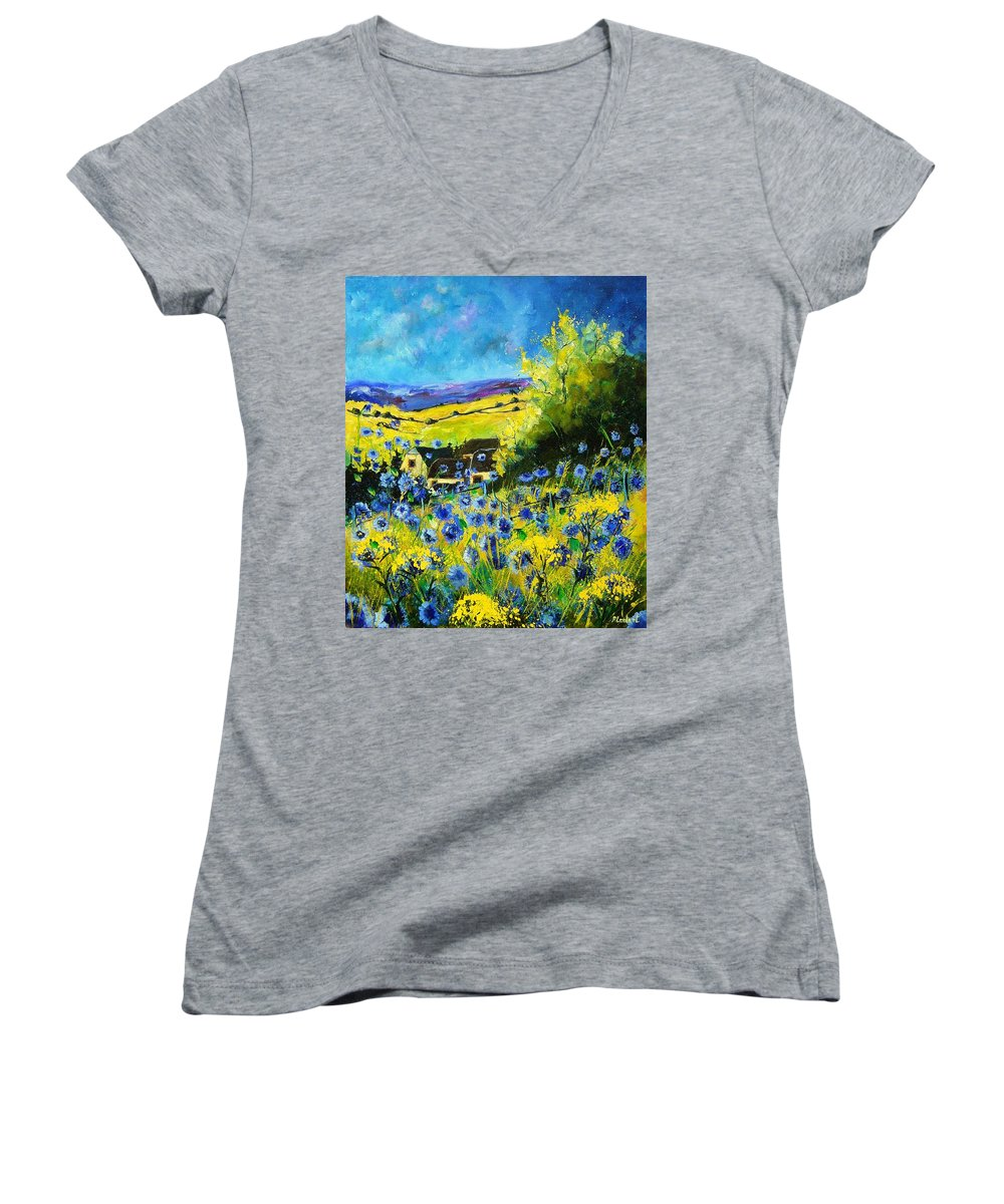 Flowers Women's V-Neck T-Shirt featuring the painting Cornflowers In Ver by Pol Ledent