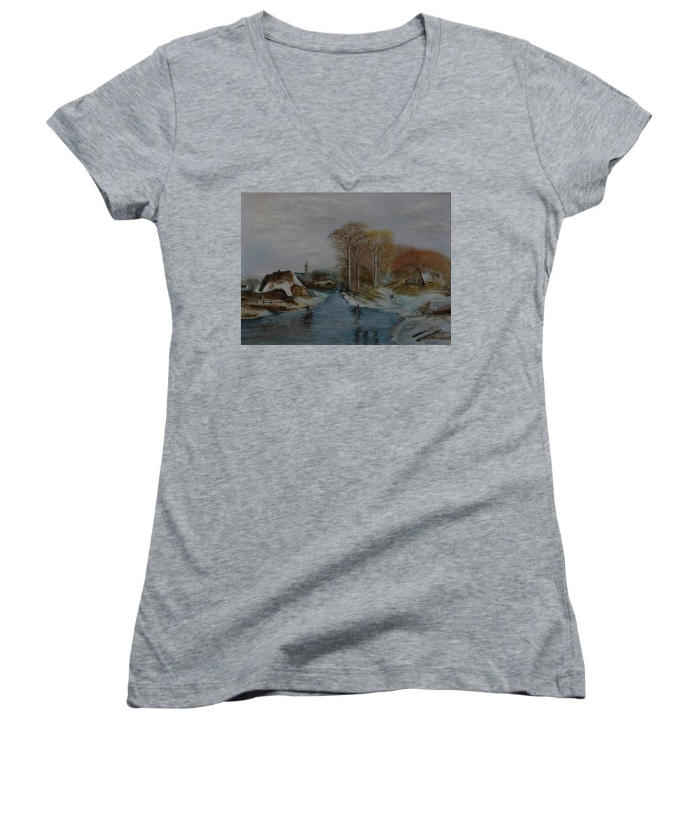 Thatched Roof Cottage Women's V-Neck (Athletic Fit) featuring the painting Cottage Country - Lmj by Ruth Kamenev