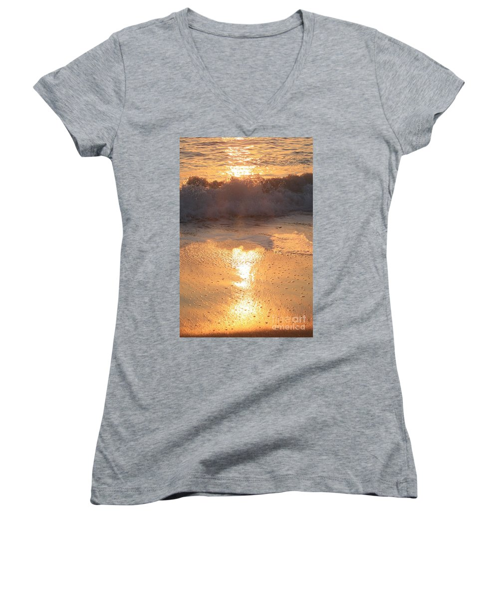 Waves Women's V-Neck (Athletic Fit) featuring the photograph Crashing Wave At Sunrise by Nadine Rippelmeyer