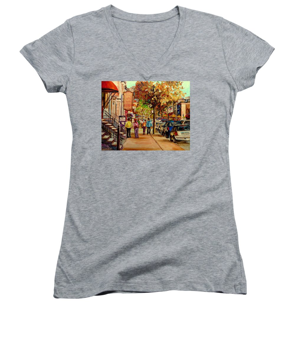 Montreal Streetscenes Women's V-Neck (Athletic Fit) featuring the painting Crescent Street Montreal by Carole Spandau