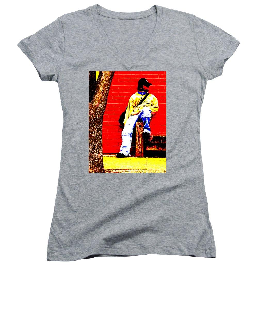 Canvas Women's V-Neck T-Shirt featuring the photograph Cross Town Run by Albert Stewart