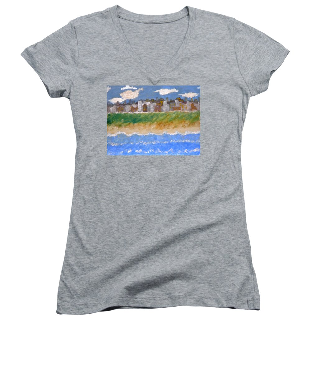 Seascape Women's V-Neck T-Shirt featuring the painting Crowded Beaches by R B