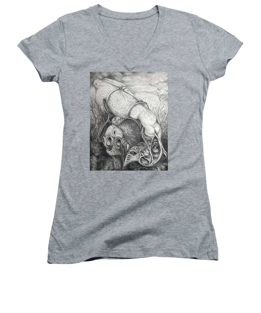 Surrealism Women's V-Neck T-Shirt featuring the drawing Ctulhu Seedpods by Otto Rapp