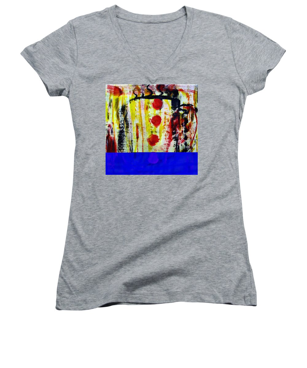 Coffee Women's V-Neck T-Shirt featuring the painting Cup Of Java by Wayne Potrafka